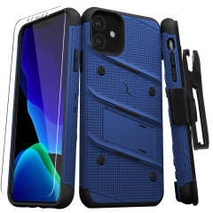 Equip your Apple iPhone 11 with military-grade protection and superb functionality with the ultra-rugged Bolt case in Blue and Black from Zizo. Coming complete with a handy belt clip and integrated kickstand.