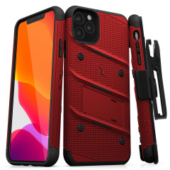 Equip your Apple iPhone 11 Pro Max with military-grade protection and superb functionality with the ultra-rugged Bolt case in Red and Black from Zizo. Coming complete with a handy belt clip and integrated kickstand.
