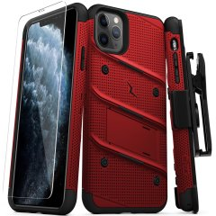 Equip your Apple iPhone 11 Pro with military-grade protection and superb functionality with the ultra-rugged Bolt case in Red and Black from Zizo. Coming complete with a handy belt clip and integrated kickstand.