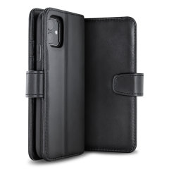 All the benefits of a wallet case but far more streamlined. The Olixar Genuine Leather case in black is the perfect partner for the iPhone 11 owner on the move. What's more, this case transforms into a handy stand to view media.