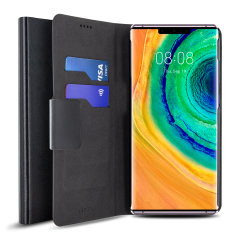 The Olixar leather-style Huawei Mate 30 Pro Stand Case in black provides enclosed protection and can also be used to hold your credit cards. The case also transforms into a viewing stand for added convenience.