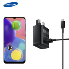 A genuine Samsung UK adaptive fast mains charger for your Samsung Galaxy A50s. With folding pins for travel convenience and a genuine Samsung USB-C charging cable. Retail packed.