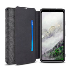 Protect your Google Pixel 4 with this durable and stylish grey canvas case by Olixar. What's more, for convenience this case transforms into a stand to view media and includes a card slot.