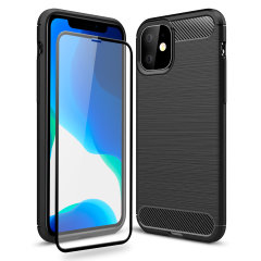 Flexible rugged casing with a premium matte finish non-slip carbon fibre and brushed metal design, the Olixar Sentinel case in black keeps your iPhone 11  protected from 360 degrees with the added bonus of a tempered glass screen protector