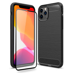 Flexible rugged casing with a premium matte finish non-slip carbon fibre and brushed metal design, the Olixar Sentinel case in black keeps your iPhone 11 Pro Max protected from 360 degrees with the added bonus of a tempered glass screen protector.