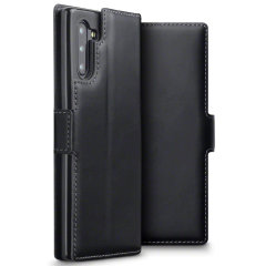 All the benefits of a wallet case but far more streamlined. The Olixar Slim Genuine Leather case in black is the perfect partner for the the Samsung Galaxy Note 10 owner on the move. What's more, this case transforms into a handy stand to view media.