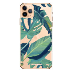 Coque iPhone 11 Pro LoveCases Feuilles tropicales – Transparent / vert