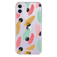 Coque iPhone 11 LoveCases à plumes colorées – Transparent