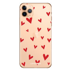 Coque iPhone 11 Pro Max LoveCases à cœurs – Transparent / rouge