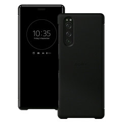 This official Style Cover View in Black from Sony houses your Xperia 5, providing protection and full functionality through the see-through touchscreen font cover, allowing you to view and action incoming messages and calls.