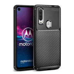 Olixar Carbon Fibre Motorola One Action Case - Black