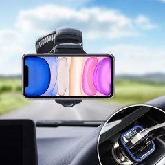 Profitez d'accessoires essentiels pour maintenir votre iPhone 11 en toute sécurité dans votre véhicule avec le pack Olixar DriveTime. Composé d'un support voiture robuste et d'un chargeur allume-cigare équipé d'un port USB supplémentaire, ce pack est tout simplement parfait pour positionner et recharger votre téléphone à bord de votre véhicule.