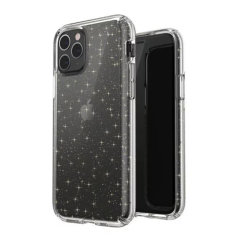 The Speck Presidio CLEAR + GLITTER Bumper case for the iPhone 11 Pro is a unique clear case that has bold and shimmering glitter crystals embedded inside two layers of the case, and a high-tech coating that resists fading, scratching, and discoloration.