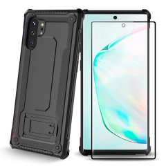Equip your Note 10 Plus with a 360 degree protection with this new black Olixar Manta case & glass screen protector bundle. Enjoy a built-in kickstand designed for media viewing, whilst also compliments the case's futuristic & rugged military design.