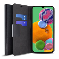 The Olixar leather-style Samsung A90 5G Wallet Case in black attaches to the back of your phone to provide superb enclosed protection and can also be used to hold your credit cards. So you can leave your other wallet home as this case has it all covered.