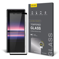This ultra-thin tempered glass full cover screen protector for the Sony Xperia 5 from Olixar with black front offers toughness, high visibility and sensitivity all in one package.