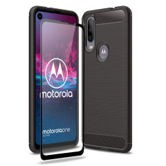 Flexible rugged casing with a premium matte finish non-slip carbon fibre and brushed metal design, the Olixar Sentinel case in black keeps your Motorola One Action protected from 360 degrees with the added bonus of a tempered glass screen protector.