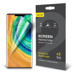 Keep your Huawei Mate 30 Pro screen in pristine condition with this Olixar scratch-resistant screen protector 2-in-1 pack.