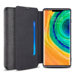 Protect your Huawei Mate 30 Pro with this durable and stylish Grey canvas case by Olixar. What's more, for convenience this case transforms into a stand to view media and includes a card slot.
