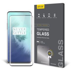 This ultra-thin tempered glass full cover screen protector for the OnePlus 7T Pro from Olixar with black front offers toughness, high visibility and sensitivity all in one package.