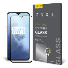 This ultra-thin tempered glass full cover screen protector for the OnePlus 7T from Olixar with black front offers toughness, high visibility and sensitivity all in one package.