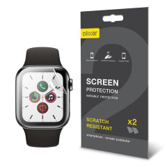 Keep your Apple Watch Series SE, 6, 5 and 4 44mm Frontier or Classic smartwatch screen in pristine condition with this Olixar scratch-resistant TPU screen protector 2-in-1 pack.