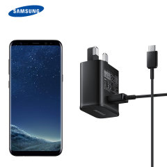 A genuine black Samsung UK adaptive fast mains charger for your Samsung Galaxy S8 Plus smartphone. This is identical to the black charger supplied with the Samsung Galaxy S8 Plus. Comes complete with an official 1.2m Samsung USB-C cable.