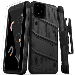 Equip your Google Pixel 4 with military-grade protection and superb functionality with the ultra-rugged Bolt case in Black from Zizo. Coming complete with a handy belt clip and integrated kickstand.