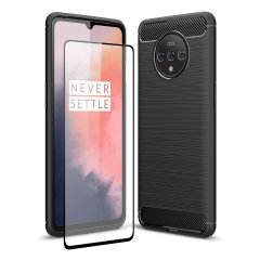 Flexible rugged casing with a premium matte finish non-slip carbon fibre and brushed metal design, the Olixar Sentinel case in black keeps your OnePlus 7T protected from 360 degrees with the added bonus of a tempered glass screen protector.