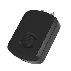 The Flytunes Bluetooth Transmitter by Scosche in black transmits a Bluetooth® wireless audio signal once plugged into a 3.5mm port, allowing you to connect wireless headphones or speakers to it and play music wherever you may be.
