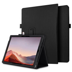 The Olixar leather-style Microsoft Surface Pro 7 Wallet Stand Case in black provides enclosed protection and can also be used to hold your credit cards. The case also transforms into a viewing stand for added convenience.