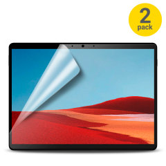 Keep your Microsoft Surface Pro X screen in pristine condition with this Olixar scratch-resistant screen protector 2-in-1 pack.