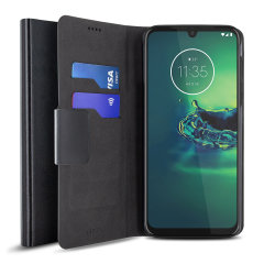 The Olixar leather-style Motorola Moto G8 Plus Wallet Case in black attaches to the back of your phone to provide enclosed protection and can also be used to hold your credit cards. So leave your regular wallet at home when you need to travel light.