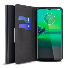 Protect your Motorola Moto G8 Play with this durable and stylish black leather-style wallet case by Olixar. What's more, this case transforms into a handy stand to view media.