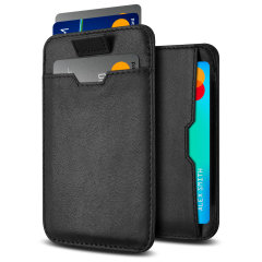 Protect your most valuable cards with this genuine leather RFID-blocking wallet and card holder from Olixar.  Capable of holding between 6 to 8 cards and features a pull out tab for accessibility.