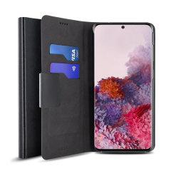 Schützen Sie Ihr Samsung Galaxy S20 mit diesem robusten und eleganten schwarzen Leder-Artmappe Fall von Olixar. Was mehr ist, ist dieser Fall verwandelt sich in ein handliches Stand Ansicht Medien.