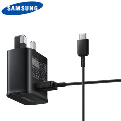 A genuine Samsung UK adaptive fast mains charger for your USB-C compatible Samsung Galaxy A71 & other Samsung Galaxy phones.  With folding pins for travel convenience and a genuine Samsung USB-C charging cable. Retail packed.