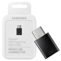 Offisiell Samsung A71 Micro USB til USB-C Adapter-Retail Packed- Svart
