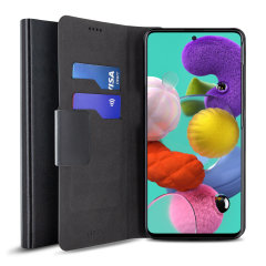 Protect your Samsung Galaxy A51 with this durable and stylish black leather-style wallet case by Olixar. What's more, this case transforms into a handy stand to view media.