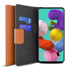 Protect your Samsung Galaxy A51 with this durable and stylish brown leather-style wallet case by Olixar. What's more, this case transforms into a handy stand to view media.