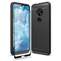 Flexible rugged casing with a premium matte finish non-slip carbon fibre and brushed metal design, the Olixar Sentinel case in black keeps your Nokia 7.2 protected from 360 degrees with the added bonus of a tempered glass screen protector