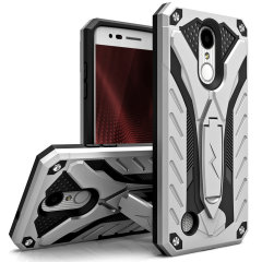 Equip your LG K8 2017 with military grade protection and superb functionality with the ultra-rugged, dual layered hybrid Static case in Silver/Black from Zizo. Coming complete with a handy kickstand for viewing media in both portrait and landscape.