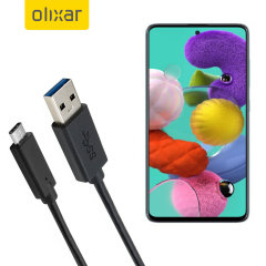 Olixar USB-C Samsung Galaxy A51 Charging Cable - Black 1m