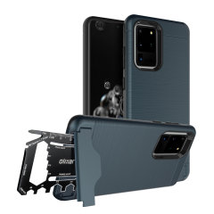 Prepare your Samsung Galaxy S20 Ultra for the great outdoors with the rugged navy X-Ranger case. With a handy kickstand and a secure compartment for the included multi-tool - or the card of your choice - you'll be ready for anything.