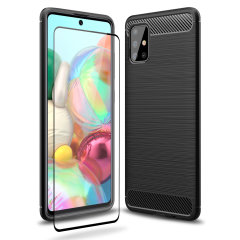 Flexible rugged casing with a premium matte finish non-slip carbon fibre and brushed metal design, the Olixar Sentinel case in black keeps your Samsung Galaxy A71 protected from 360 degrees with the added bonus of a tempered glass screen protector
