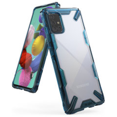 Keep your Samsung Galaxy A71 protected from bumps and drops with the Rearth Ringke Fusion X tough case in blue. Featuring a 2-part, Polycarbonate design, this case lives up to military drop-test standards so you can rest assured that your device is safe.