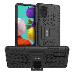 Skydda din Samsung Galaxy A51 med ArmourDillo Hybrid-skalet från Olixar, som består av ett inre TPU-skal och ett yttre stöttåligt skelett. Ett skal för dig som vill skydda din telefon och vill ge den riktigt modern look.