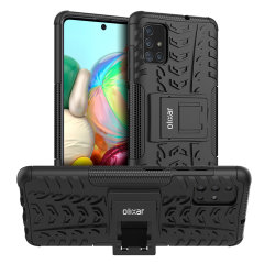 Protect your Samsung Galaxy A71 from bumps and scrapes with this black ArmourDillo case from Olixar. Comprised of an inner TPU case and an outer impact-resistant exoskeleton, with a built-in viewing stand.