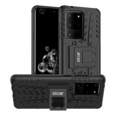 Protect your Samsung Galaxy S20 Ultra from bumps and scrapes with this black ArmourDillo case from Olixar. Comprised of an inner TPU case and an outer impact-resistant exoskeleton, with a built-in viewing stand.