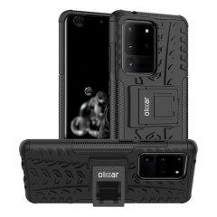 Schützen Sie Ihr Samsung Galaxy S20 Ultra mit dieser ArmourDillo-Hülle von Olixar vor Stößen und Kratzern. Bestehend aus einem inneren TPU-Gehäuse und einem äußeren stoßfesten Exoskelett mit integriertem Sichtständer.